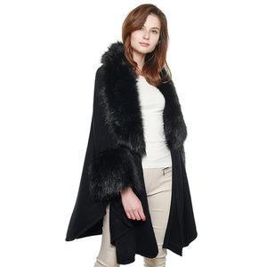 Luxurious Faux Fur Accented Cape Shawl, Black